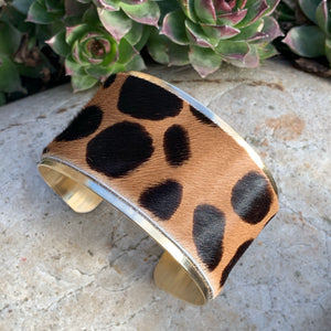boho statement cuff made with brass and real leather