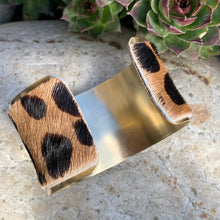 Load image into Gallery viewer, boho statement cuff made with brass and real leather