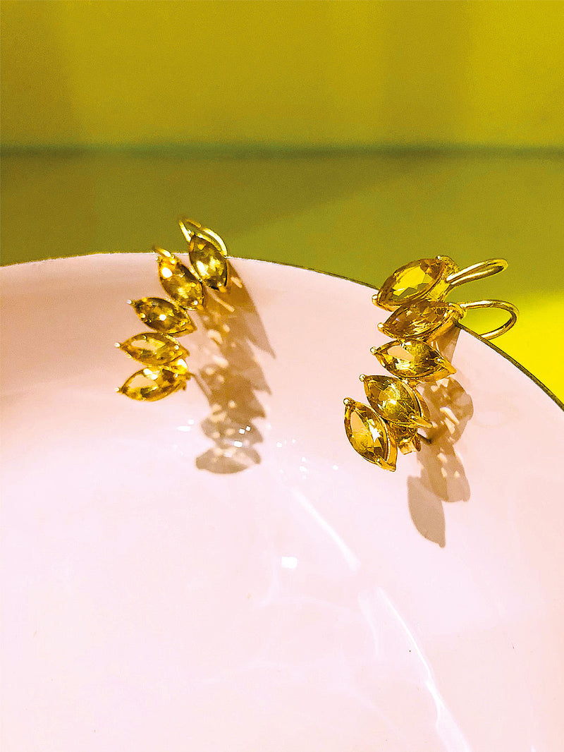 Clio Citrine Cuff Earrings Earcuffs ohrringe gelb gold luxus boho sommer