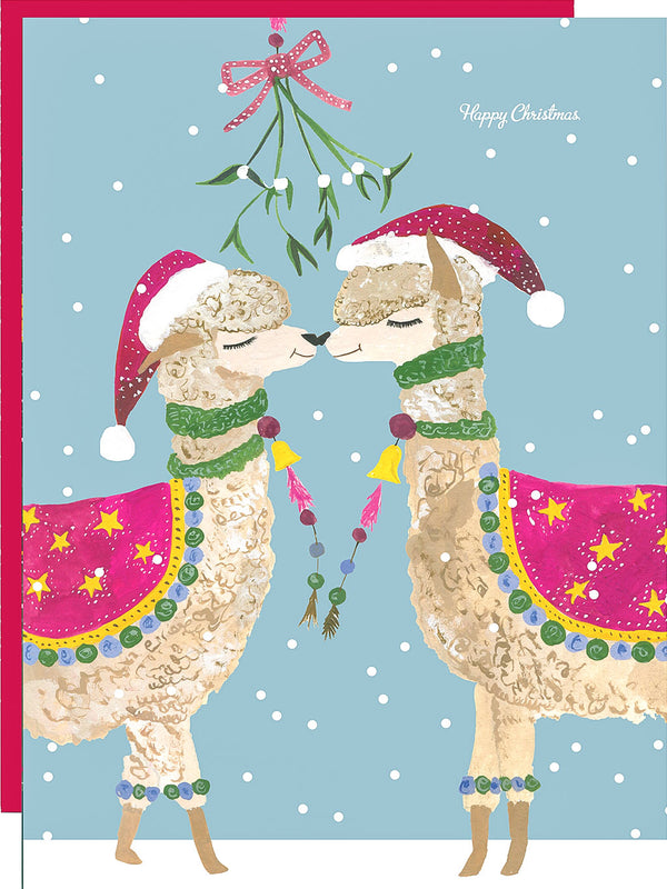 Karte Weihnachten Winter Kissing Lamas