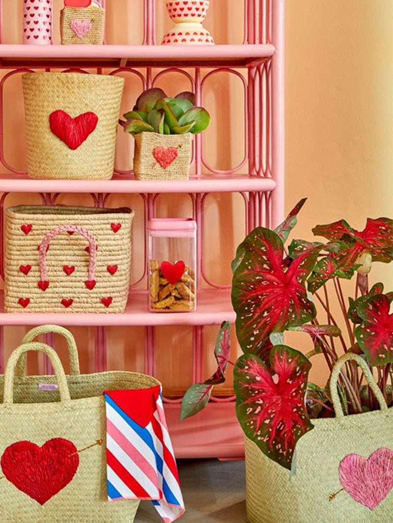 Raffia Love Shopper M Herz Rosa