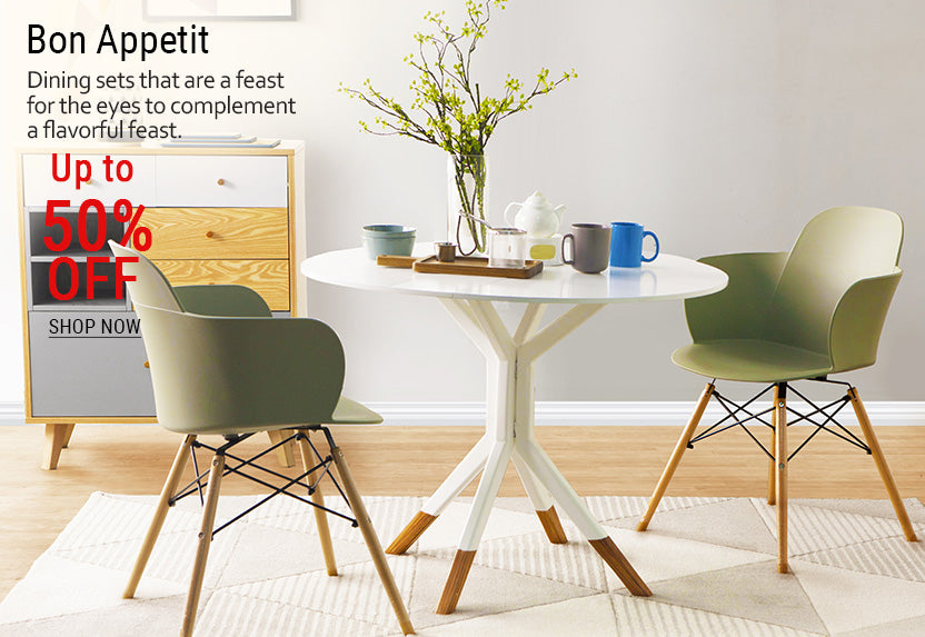 06-Dining area featuring scandinavian inspired side board table and green chairs