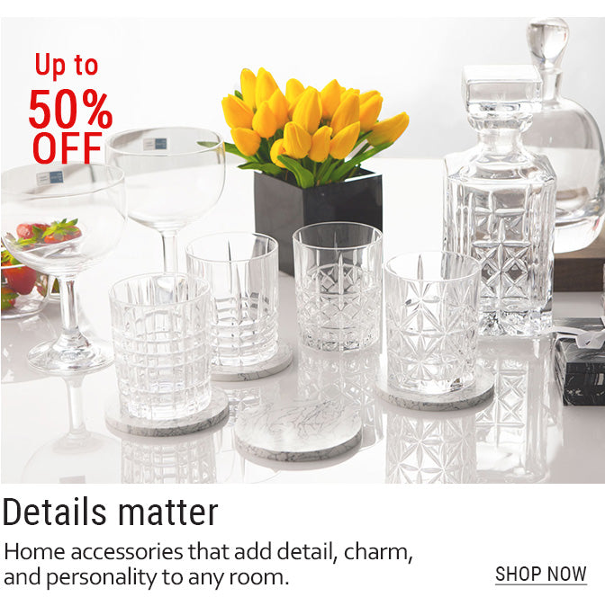 07-Crystalware and glassware on table with yellow flowers