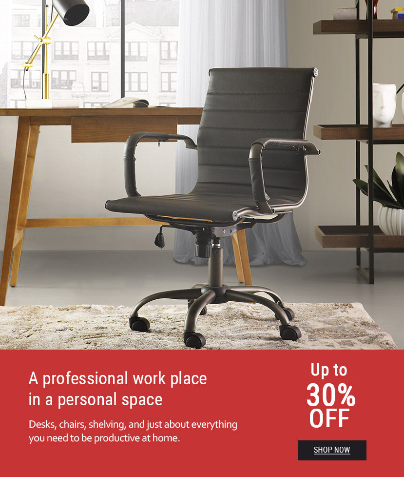 12-Black leather upholstered office chair in front of wooden office desk