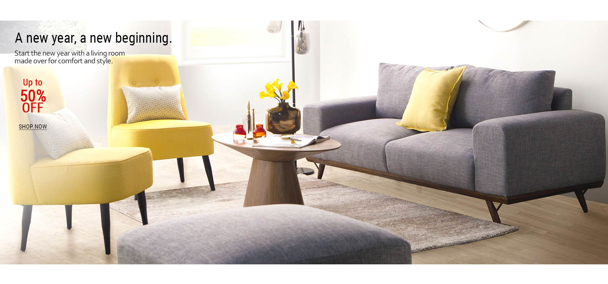05-Living room featuring yellow accent chairs and gray sofa
