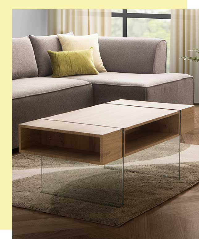 coffee table with storage shelves