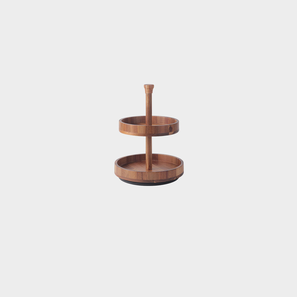Acacia Wood Cake Stand Two Tier (4822765043791)