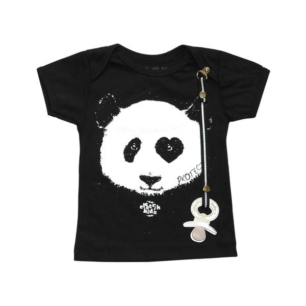 Adorable Baby Panda tee with pacifier holder by Electrik Kidz