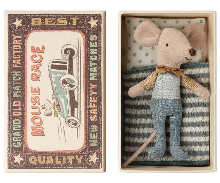 Maileg little mouse in a box with bow tie at Bonjour Baby Baskets