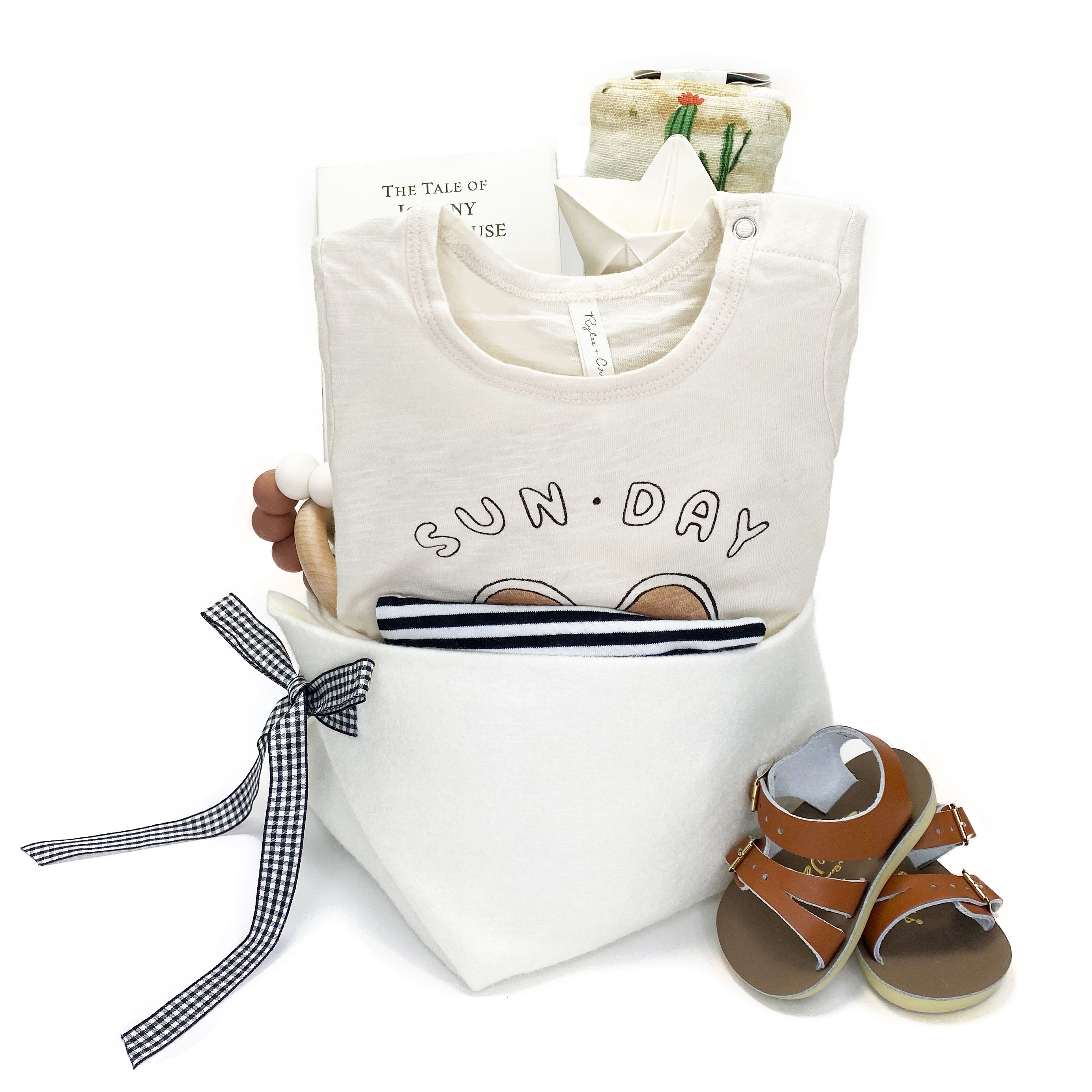 Luxury Baby Gift Basket featuring Rylee and Cru at Bonjour Baby Baskets