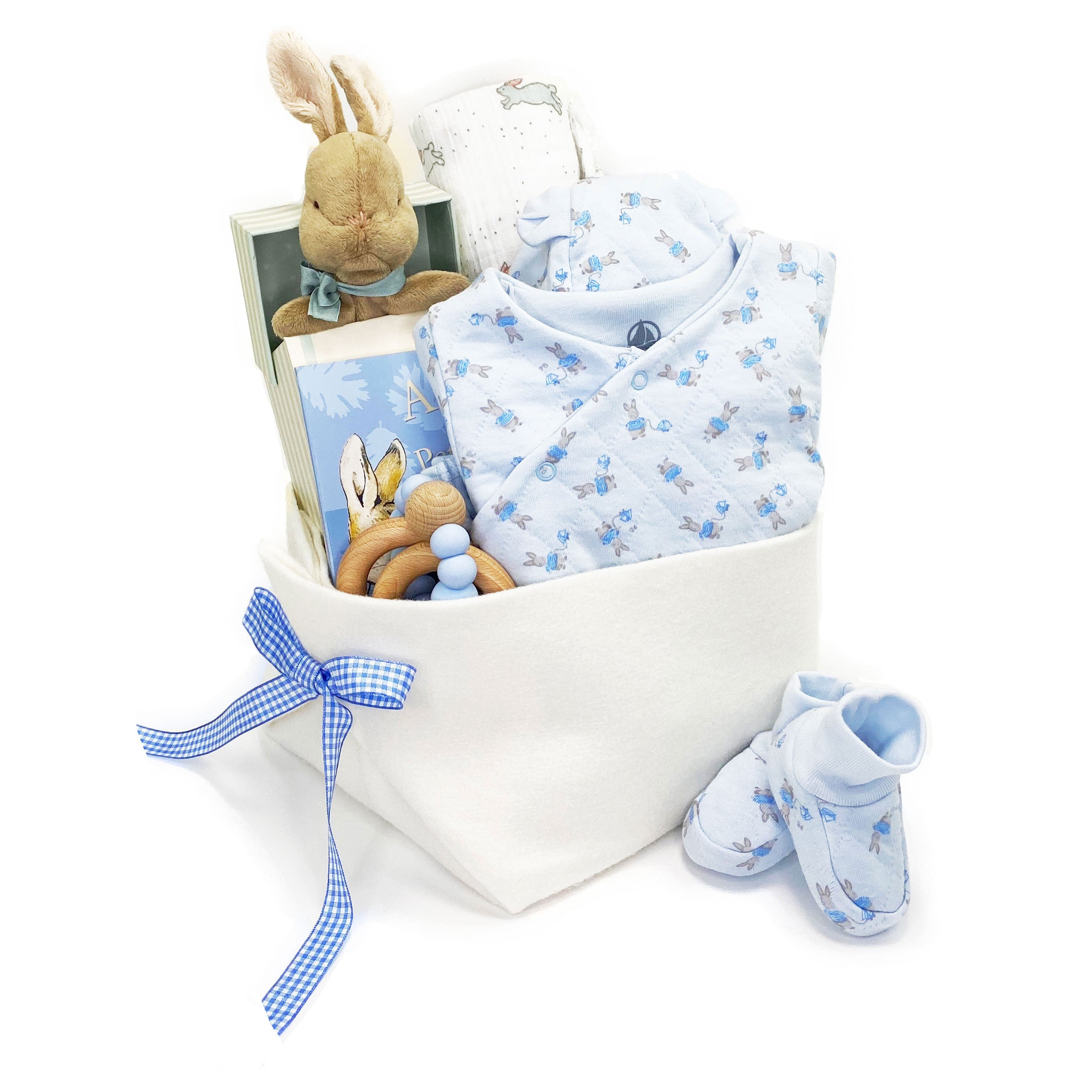 Petit Bateau Luxury Baby Gift Basket for a boy at Bonjour Baby Baskets