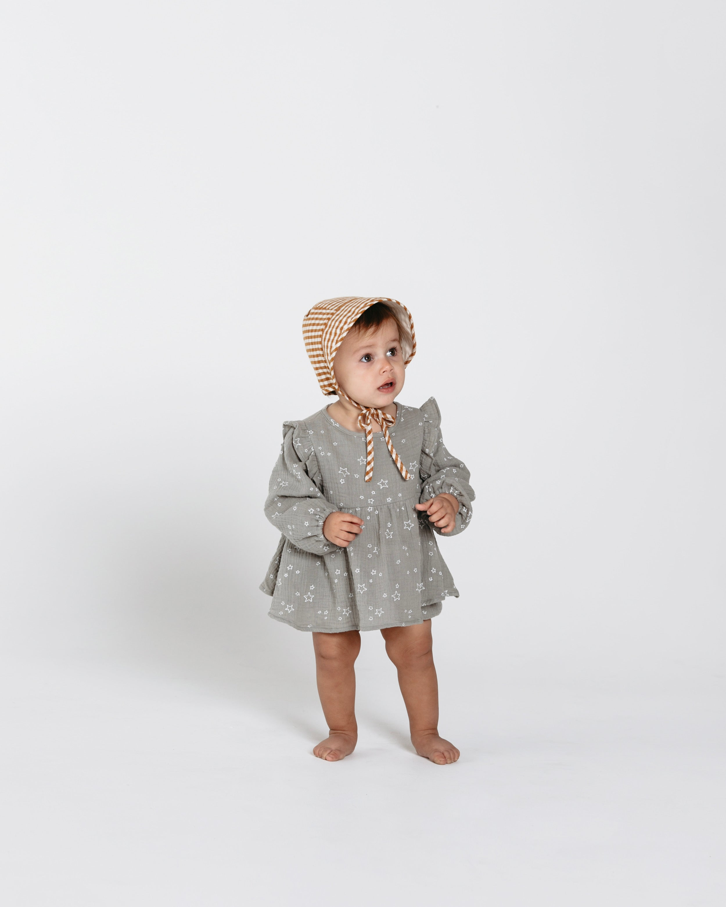 Rylee and Cru star dress with gingham bonnet