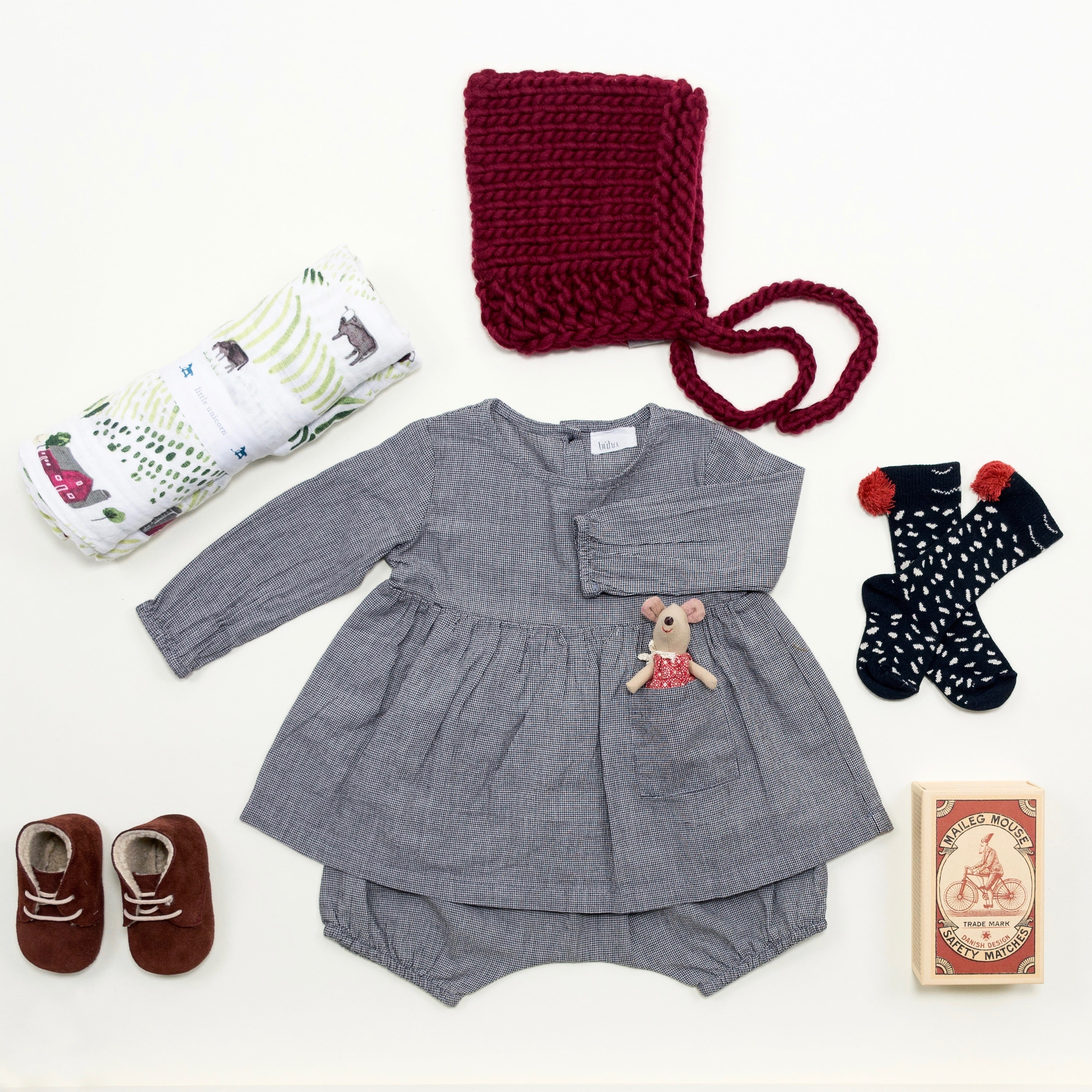 Fall baby girl outfit by Bonjour Baby Baskets
