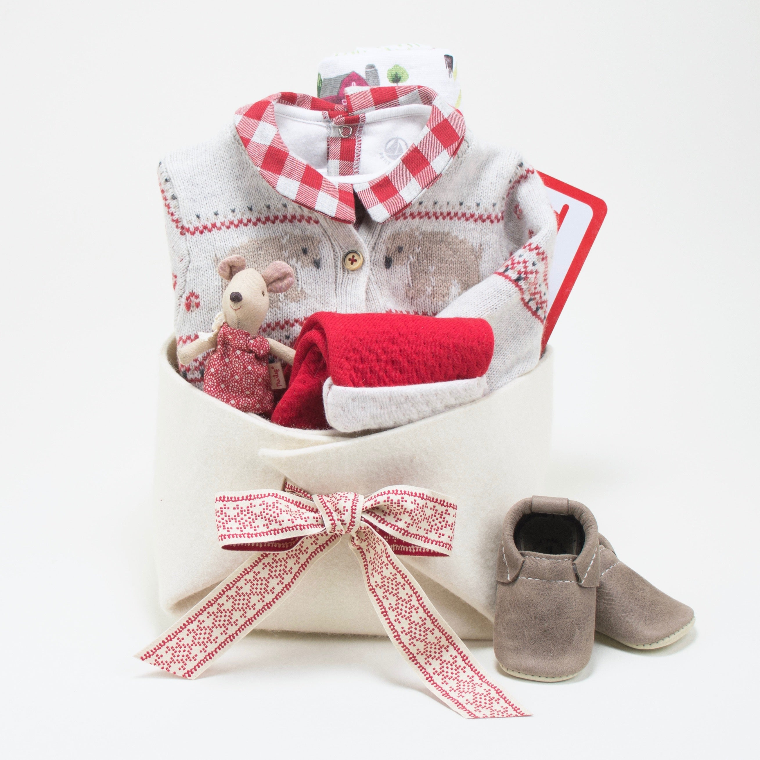 Baby First Christmas Baby Gift Basket at Bonjour Baby Baskets
