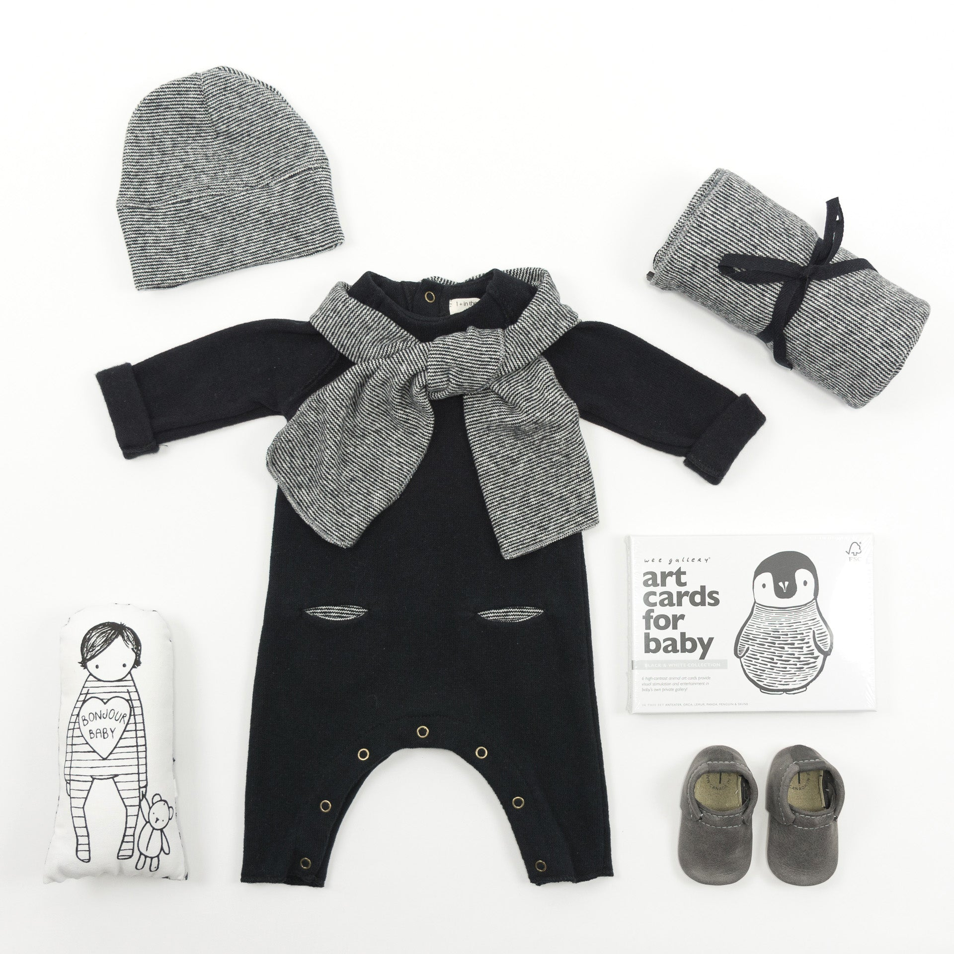 Monochrome designer Baby Gift Basket featuring 1+ in the Family