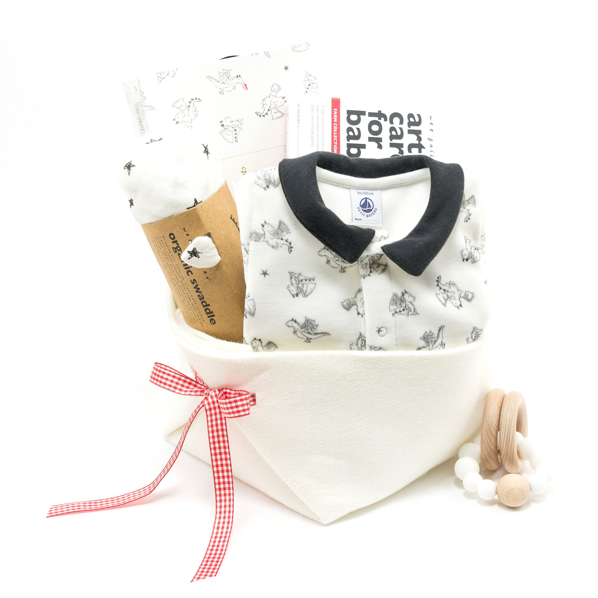Baby Gift Basket with dragons featuring Petit Bateau, great Corporate Baby Gift