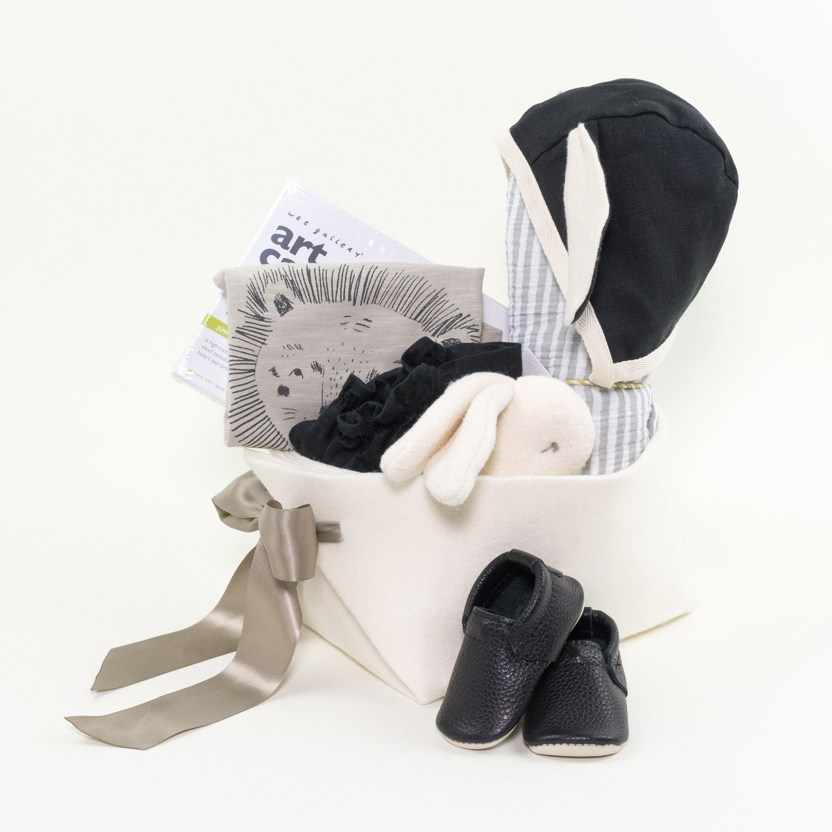 Luxury Baby Gift Basket featuring Fidoodle rattle at Bonjour Baby Baskets