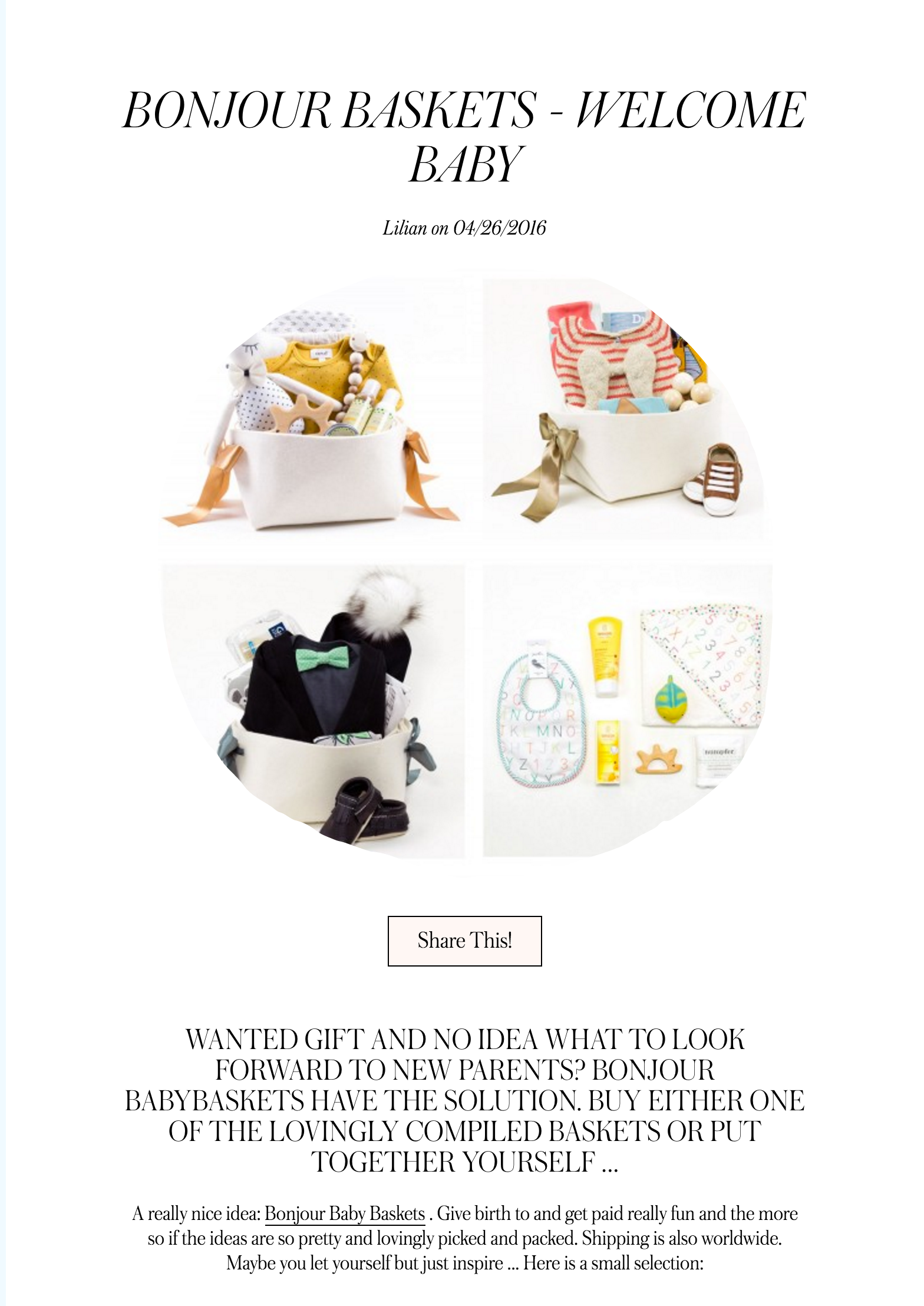 Bonjour Baby Baskets in Best Welcome Home Baby Gifts