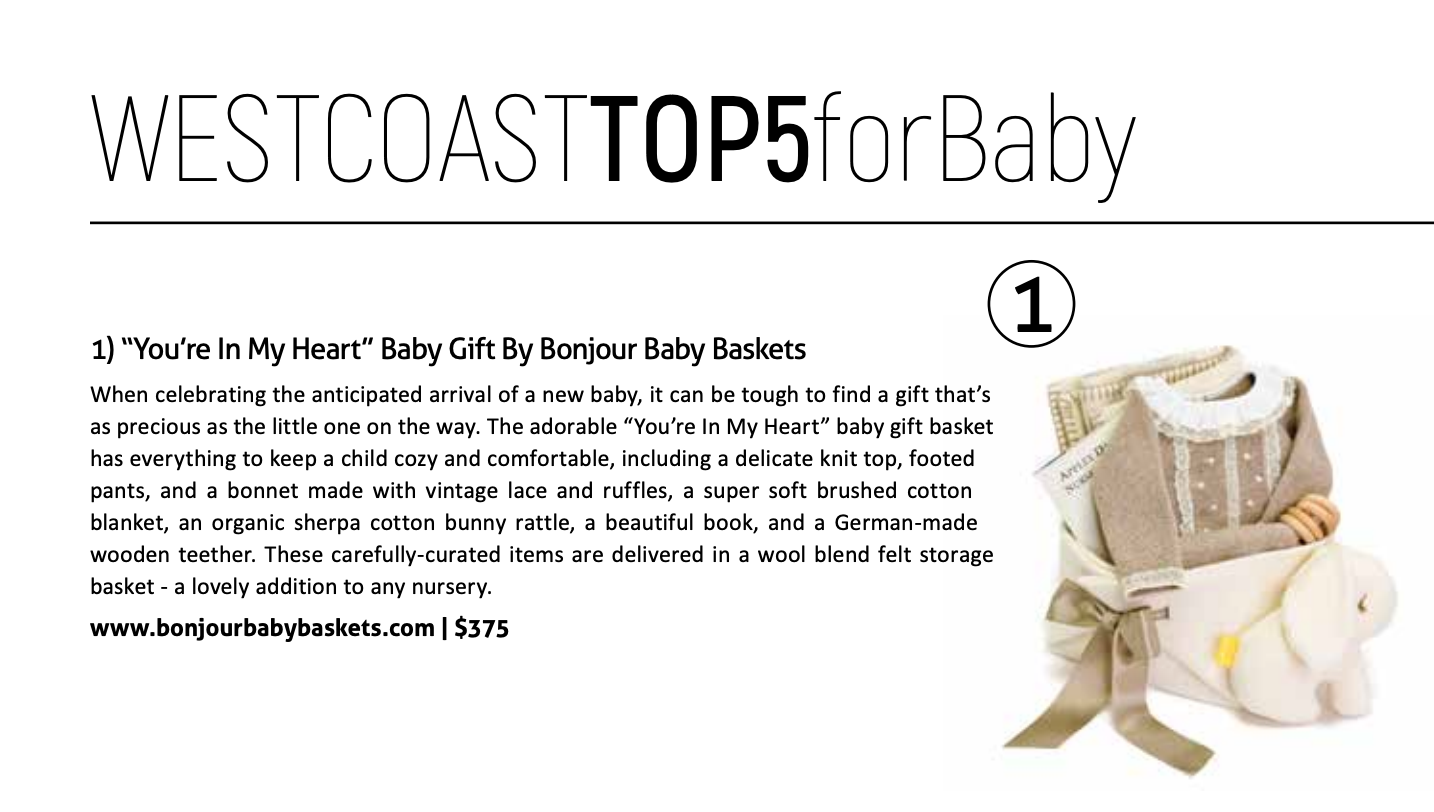 Bonjour Baby Baskets is in the top 5 Baby Gifts