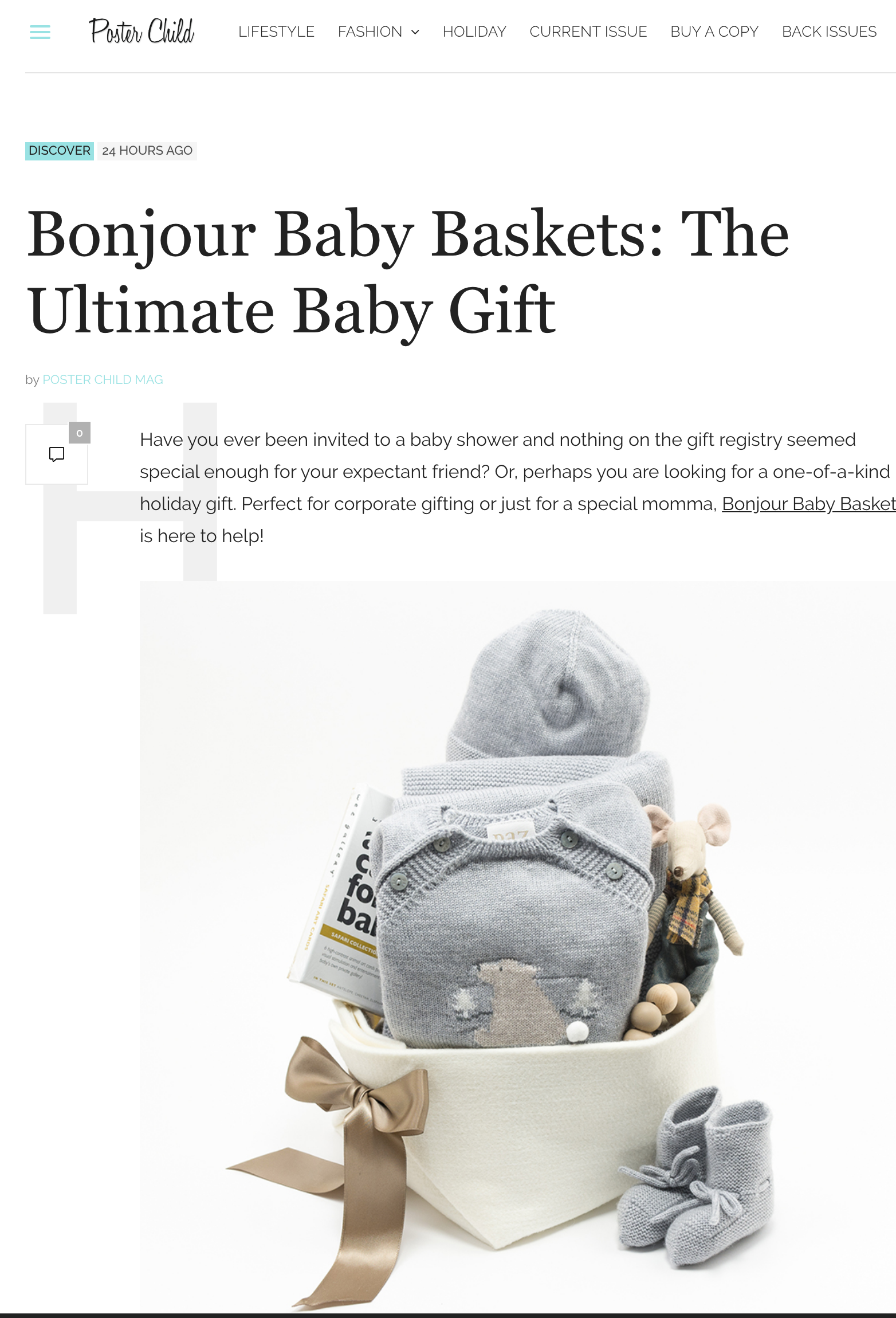 Bonjour Baby Baskets review by Poster Child Magazine