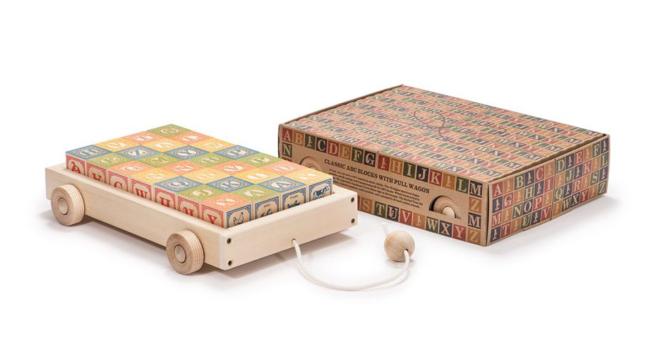 Uncle Goose wooden blocks with wagon at Bonjour Baby Baskets