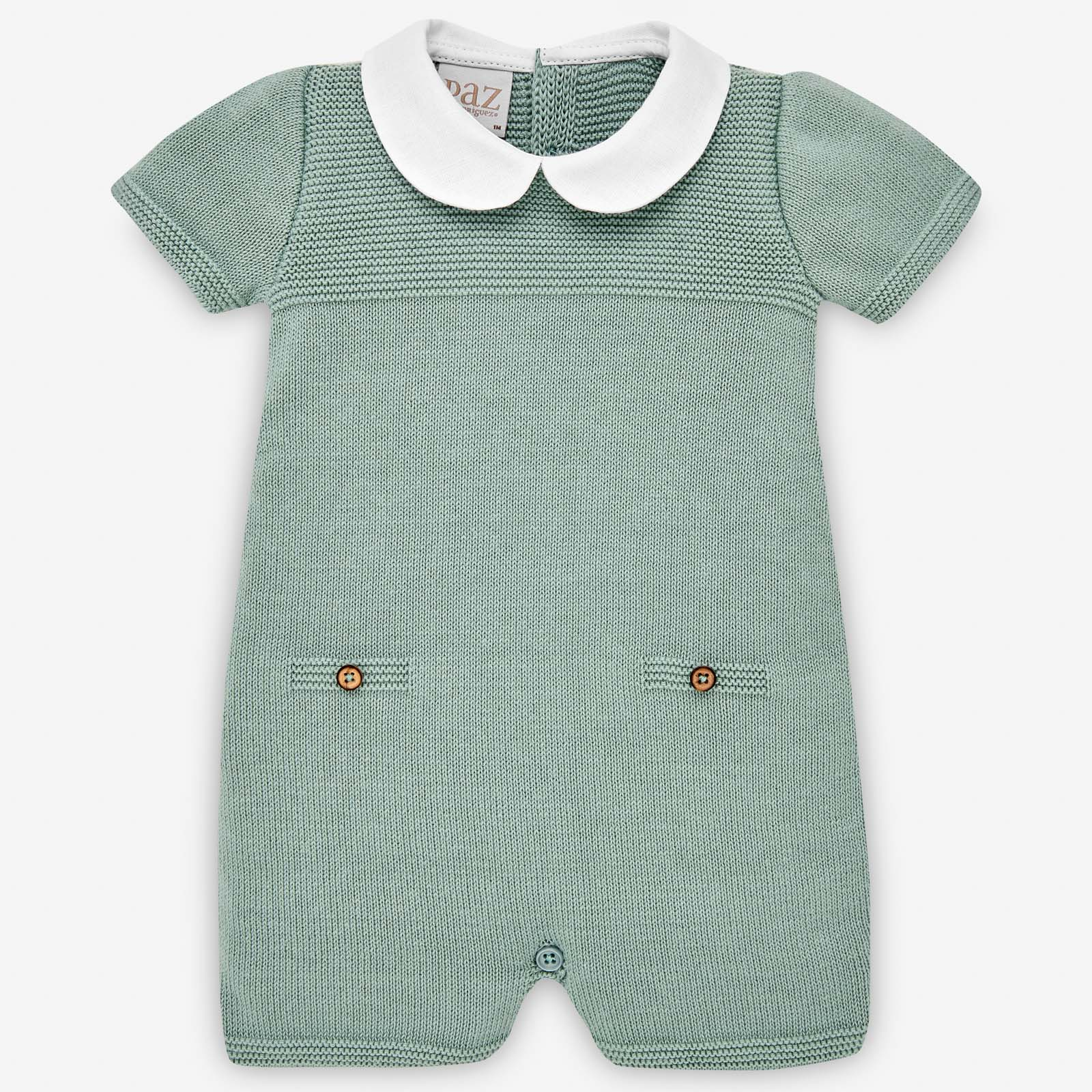 Paz Rodriguez Luxury Baby Romper in Green