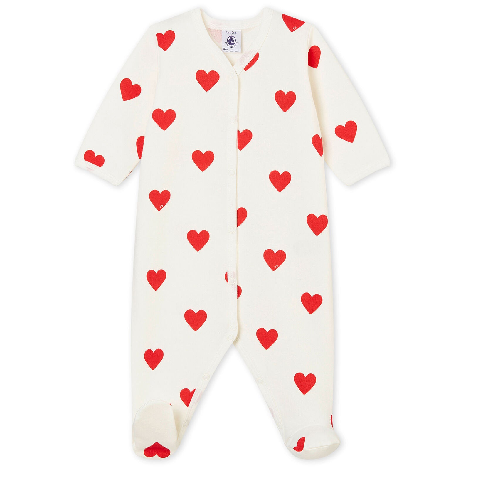 Heart Baby Romper by Petit Bateau at Bonjour Baby Baskets