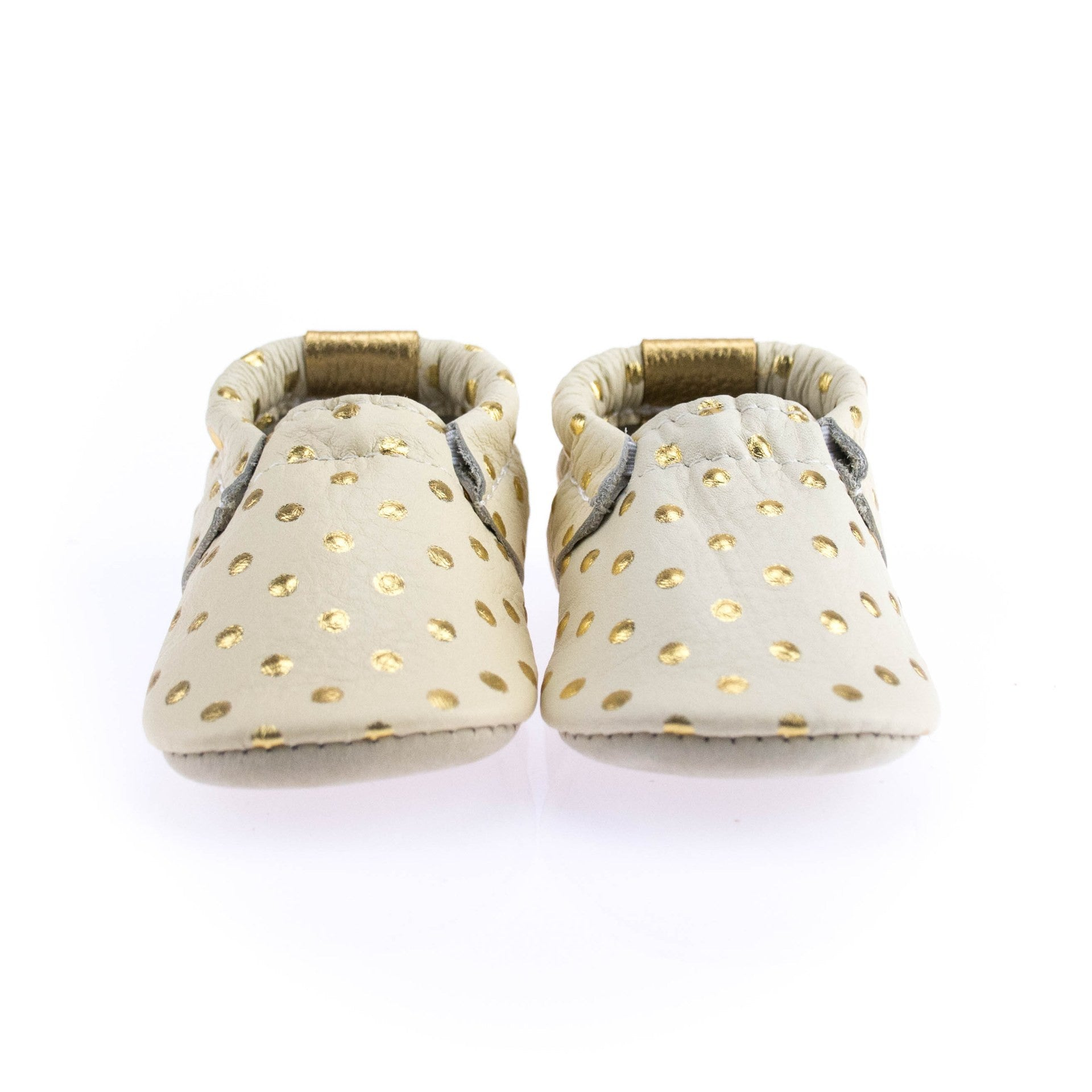 Gold Dots Leather Baby Shoes  Luxury Baby Gifts