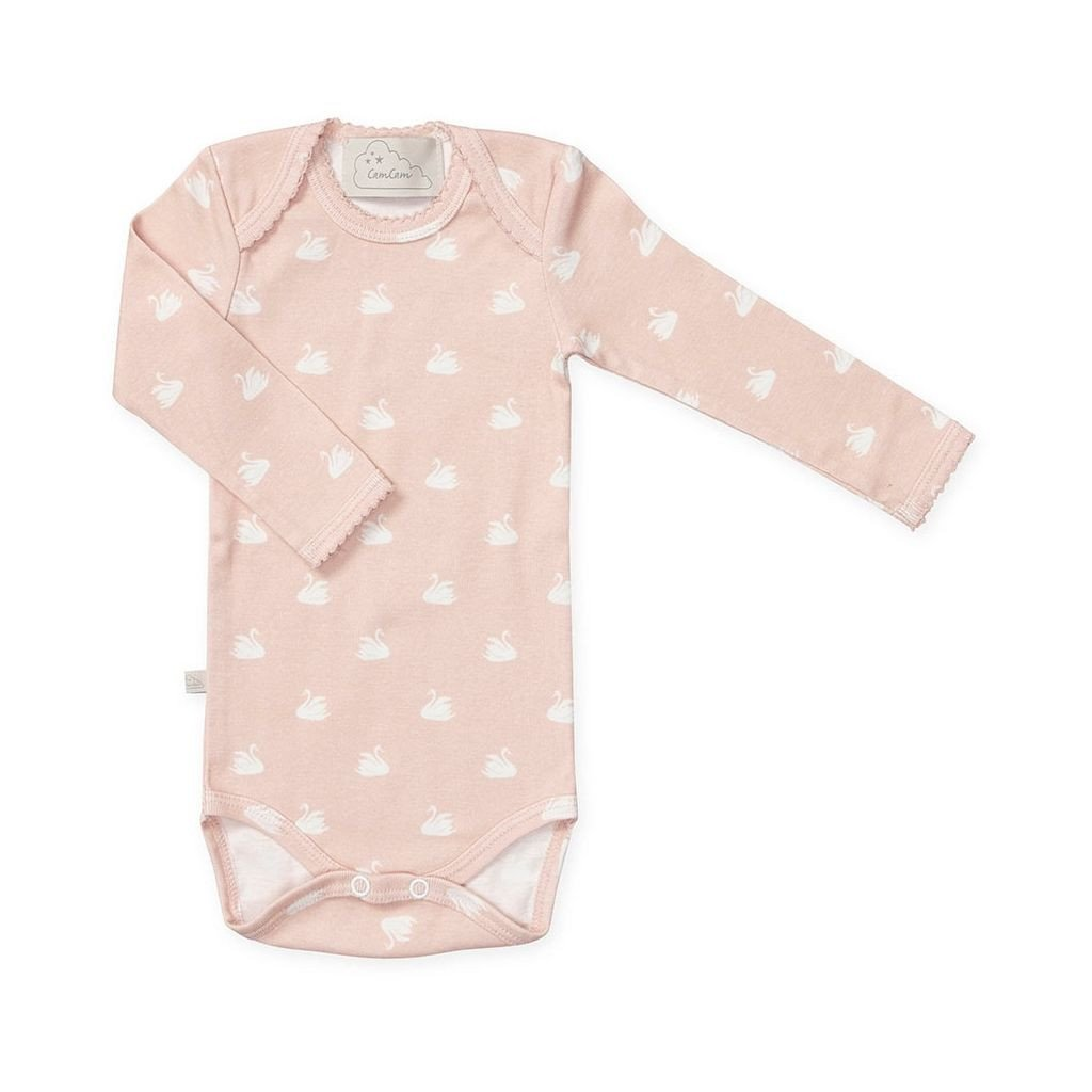 organic onesie with swans at Bonjour Baby Baskets