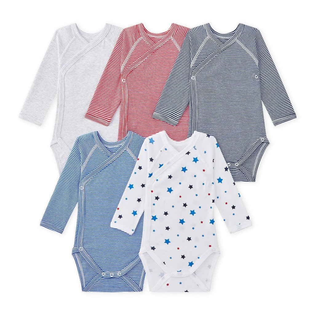 Petit Bateau Set of 5 onesies in its gift box