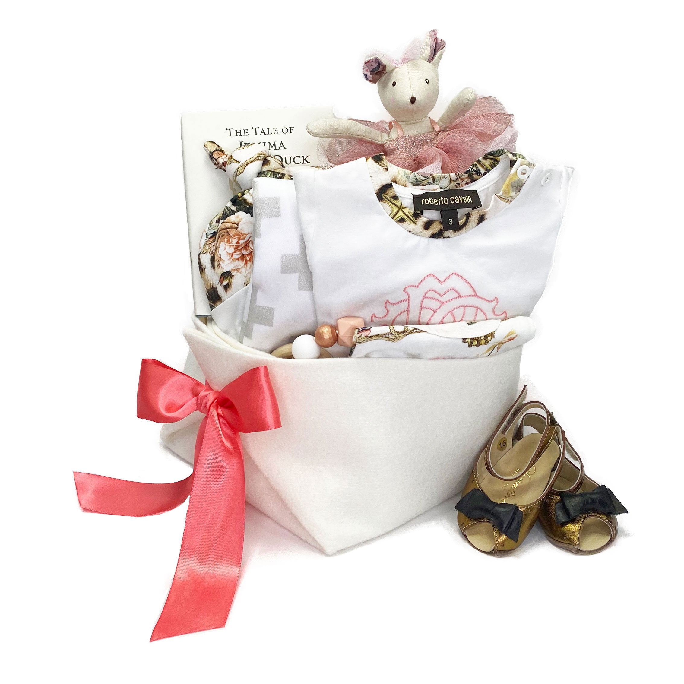 Luxury Baby Girl Gift Basket at Bonjour Baby Baskets featuring Roberto Cavalli