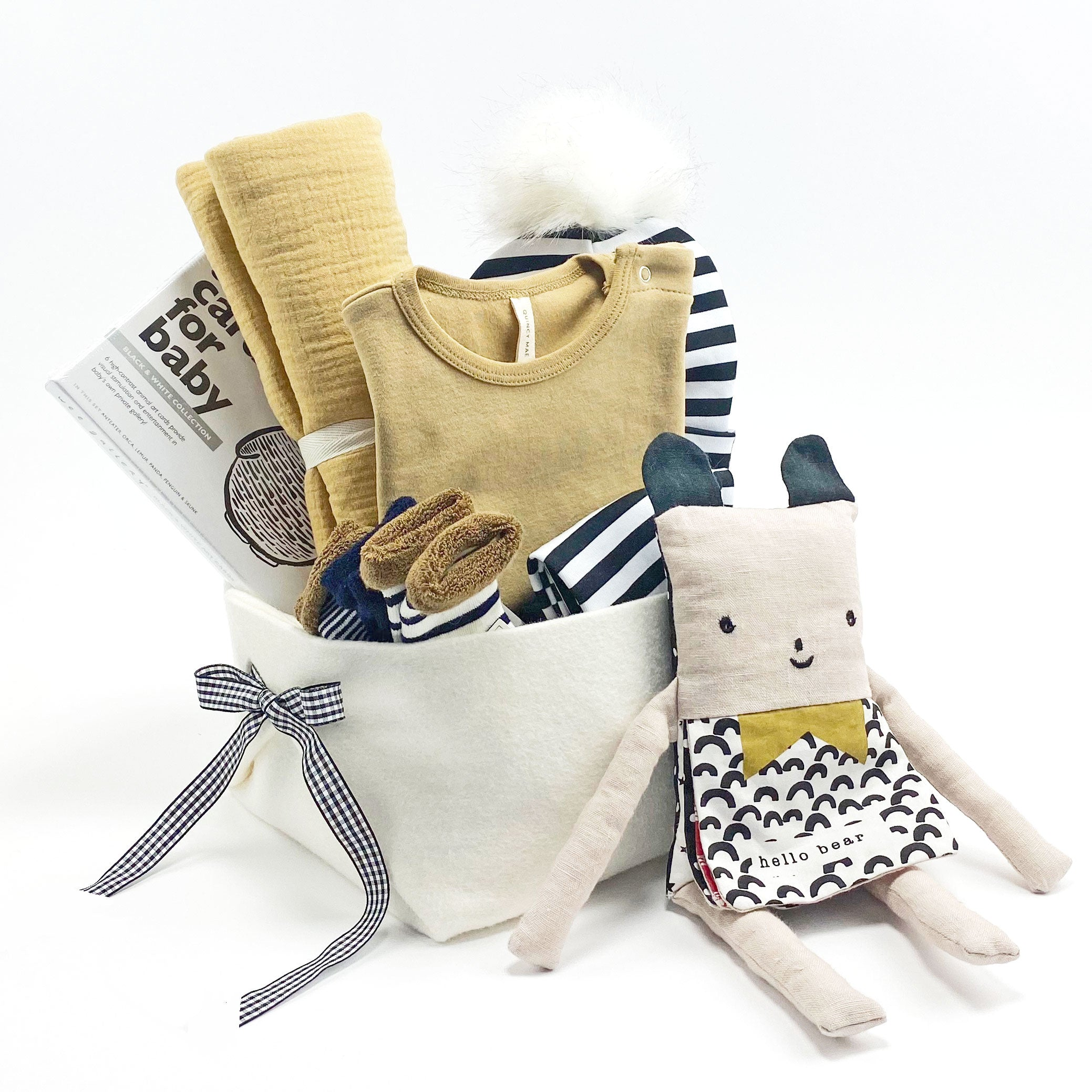 Trendy Baby Gift Basket featuring Quincy Mae, perfect Corporate Baby Gift