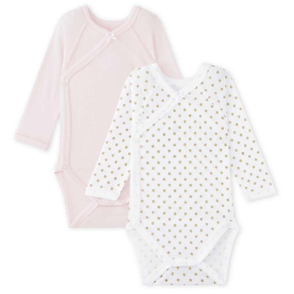 Petit Bateau set of 2 onesies in gold dots and pink