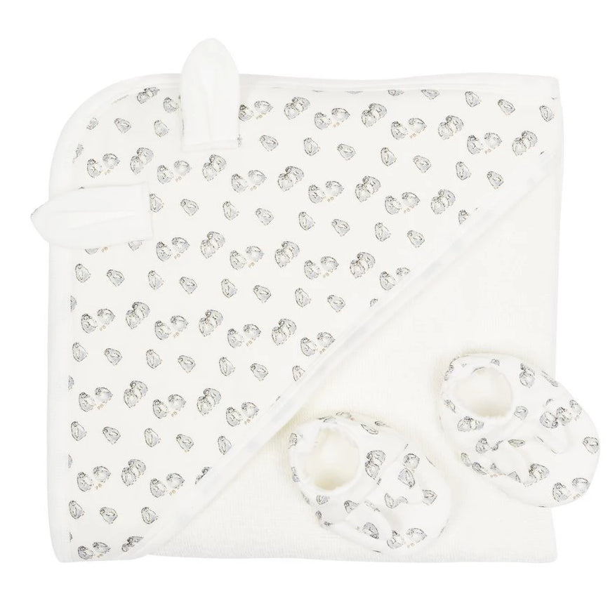 Petit Bateau Baby Towel and booties set with Penguins print at Bonjour Baby Baskets