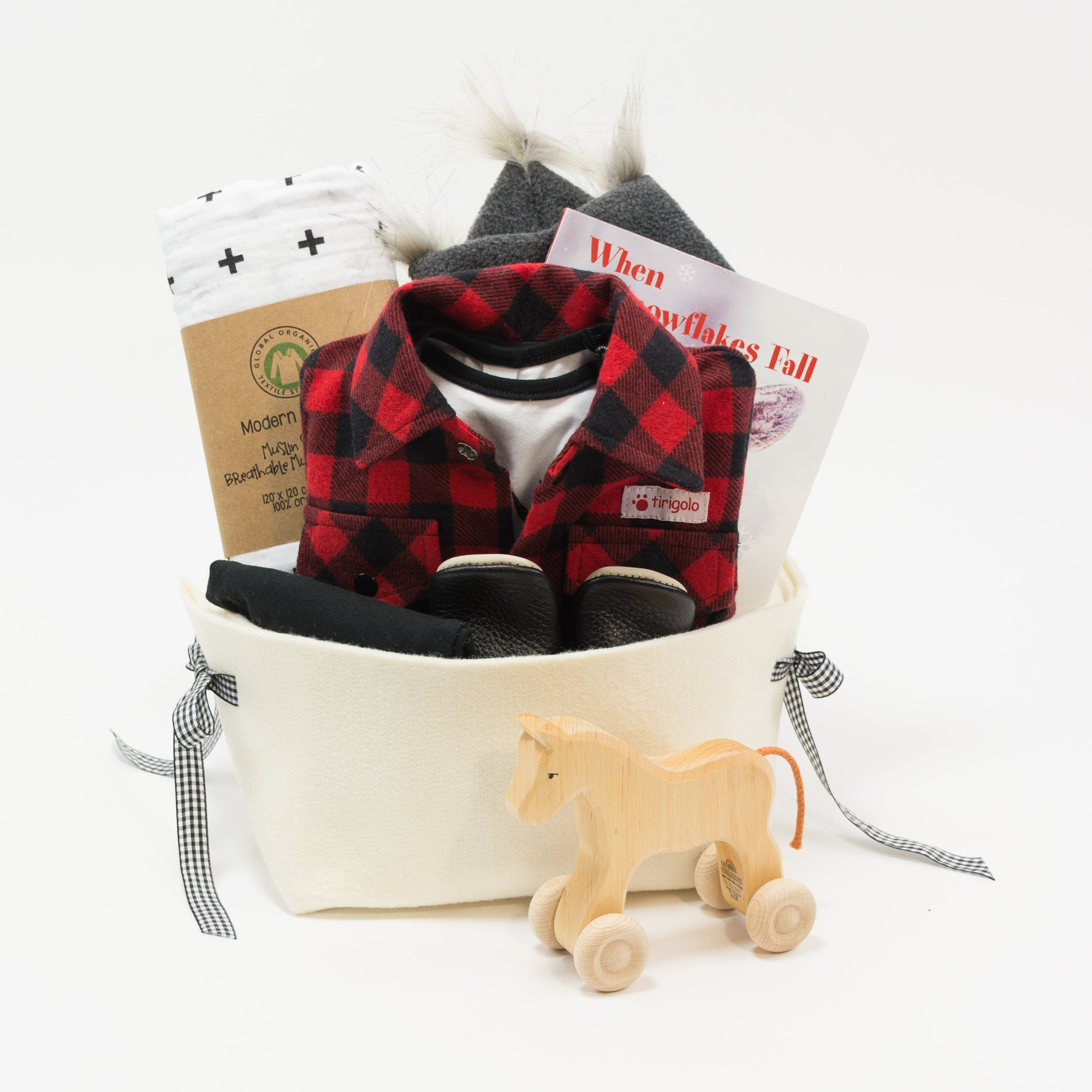 Buffalo Plaid Cool Baby Boy Gift Basket, Great Corporate Baby Gift