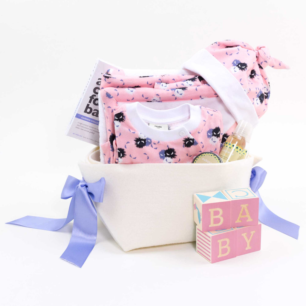 4959b3670874 Fendi Baby Girl Gift Basket - To the moon and Back – Bonjour Baby ...