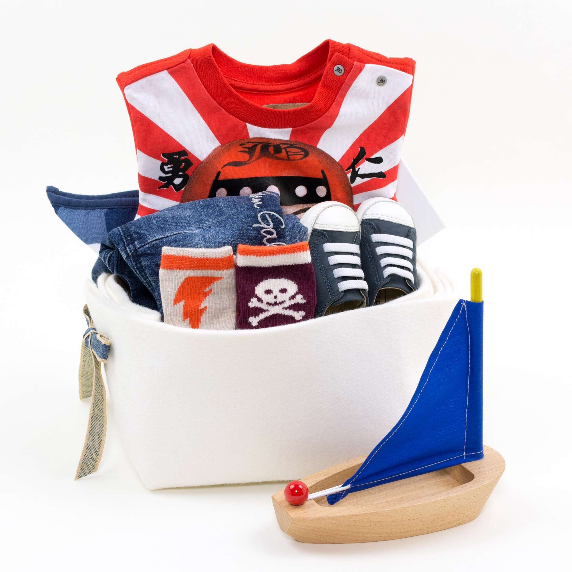 Baby Boy Gift Basket featuring John Galliano Samurai Print Tee and Jeans
