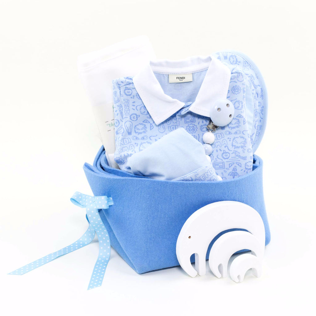 9f6e550edbb3 Unique Baby Gift Basket featuring Fendi - My Sweet Baby Boy – Bonjour Baby  Baskets - Luxury Baby Gifts