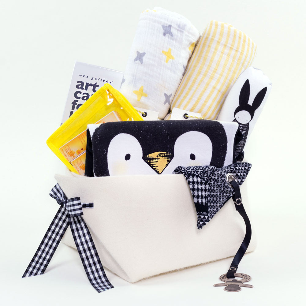Baby Penguin Luxury Baby Gift Basket by Bonjour Baby Baskets