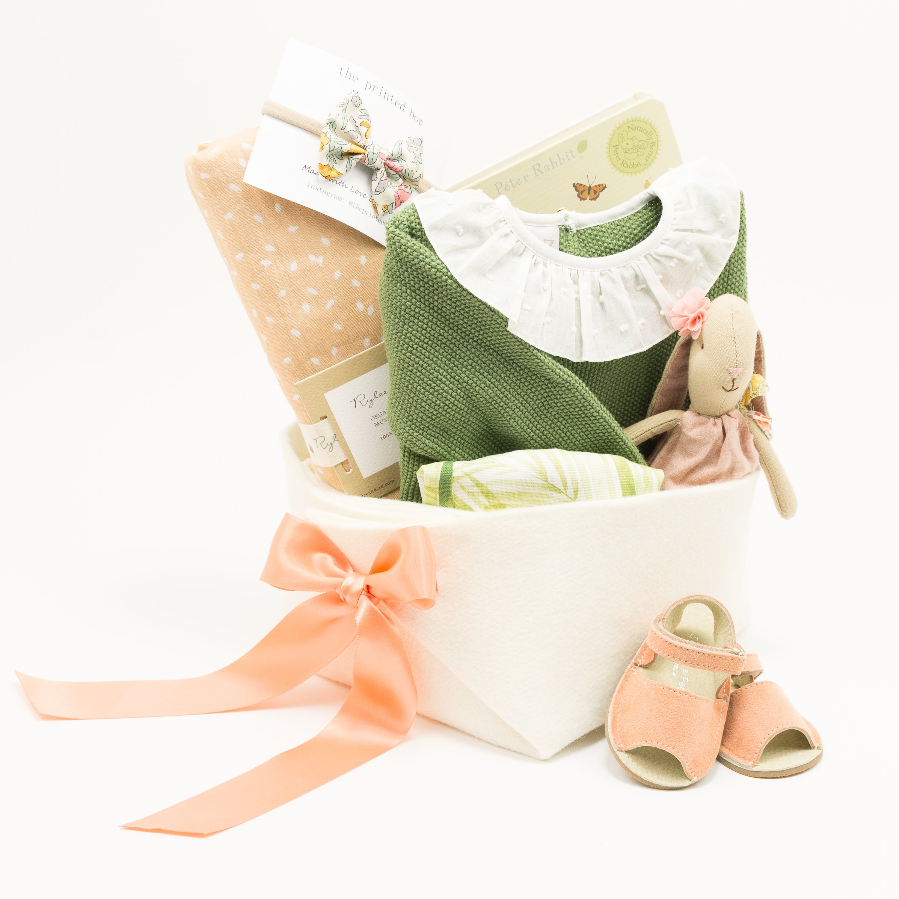 Baby Gift Basket for a Girl featuring Paz Rodriguez. Luxury Baby Gifts