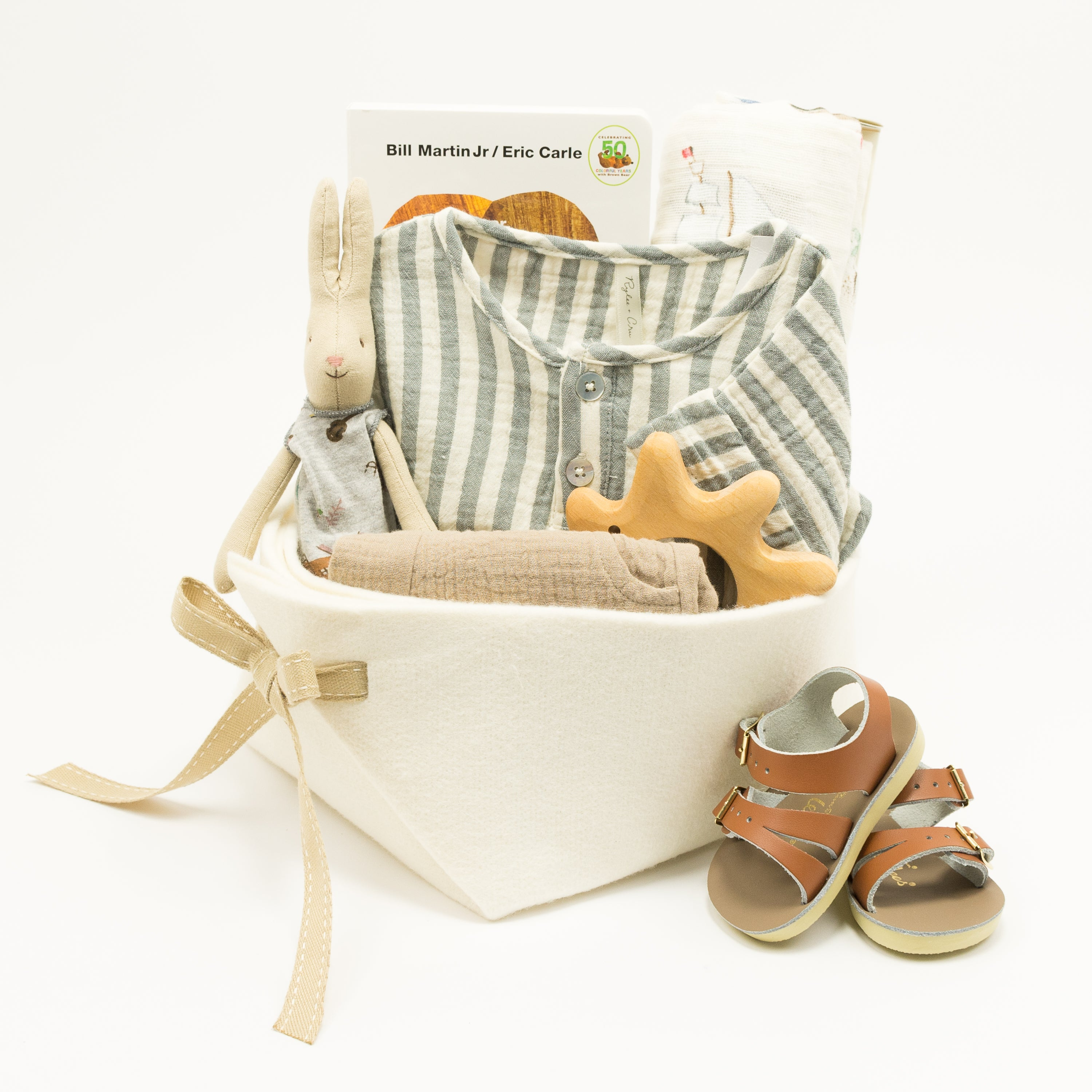 Trendy Baby Gift Basket featuring Rylee and Cru, perfect Corporate Baby Gift