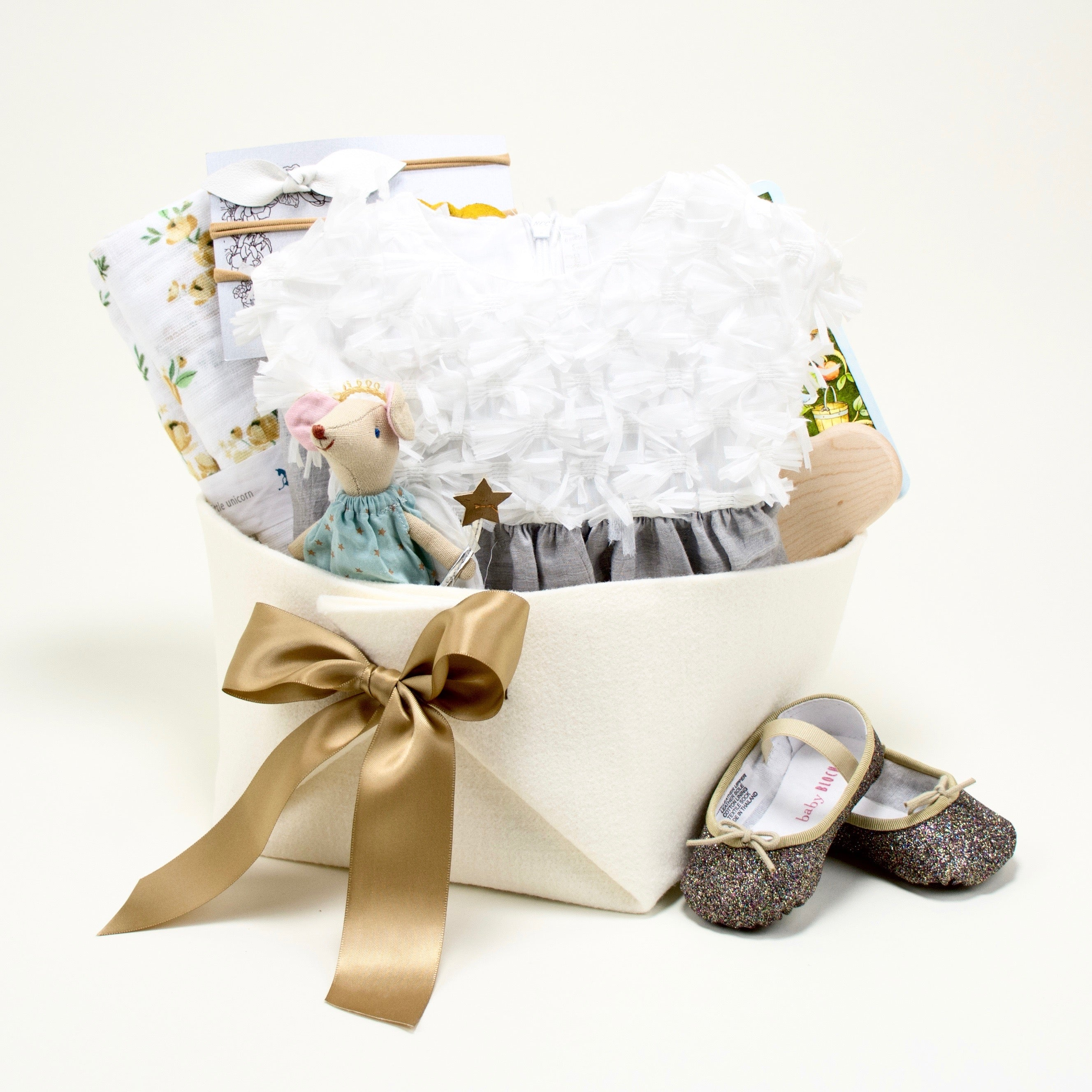 Il Gufo Luxury Baby Girl Gift Basket at Bonjour Baby Baskets