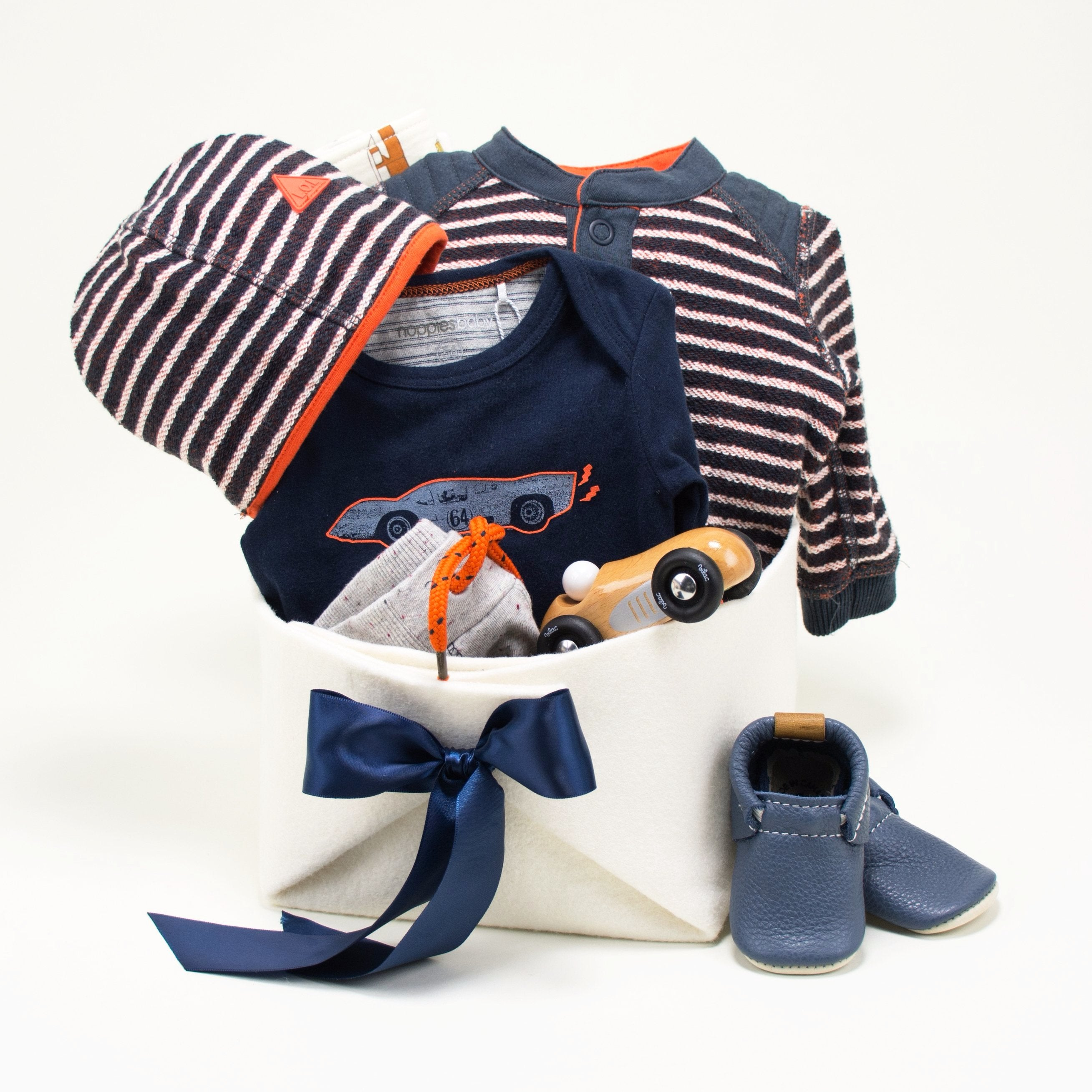 Trendy Baby Boy Gift Basket by Bonjour Baby Baskets