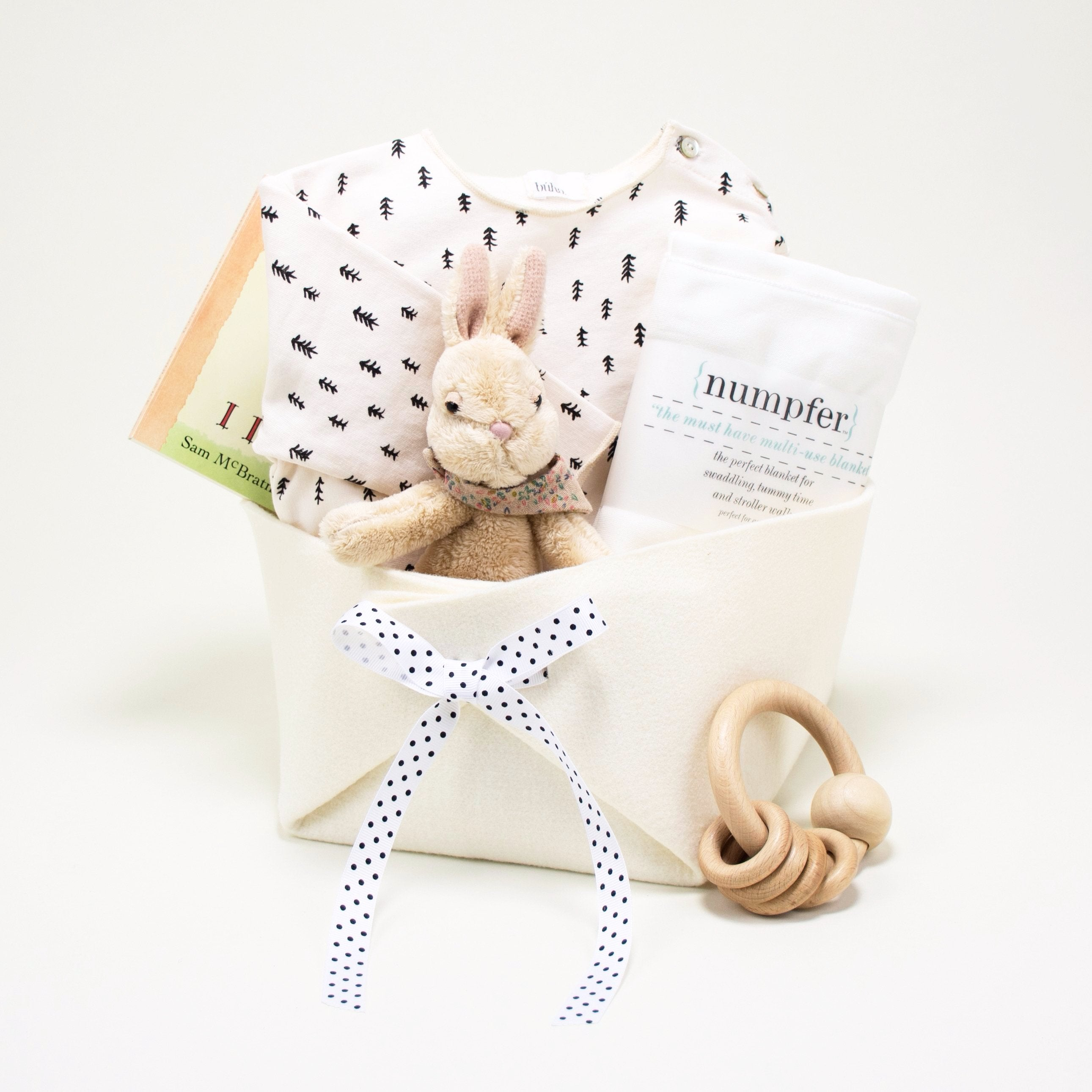 Monochrome Baby Gift Basket at Bonjour Baby Baskets