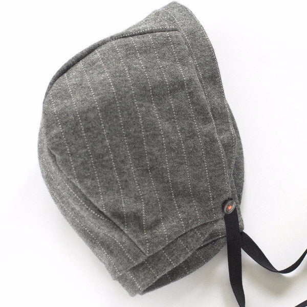 Baby Bonnet Light Grey Pinstripe