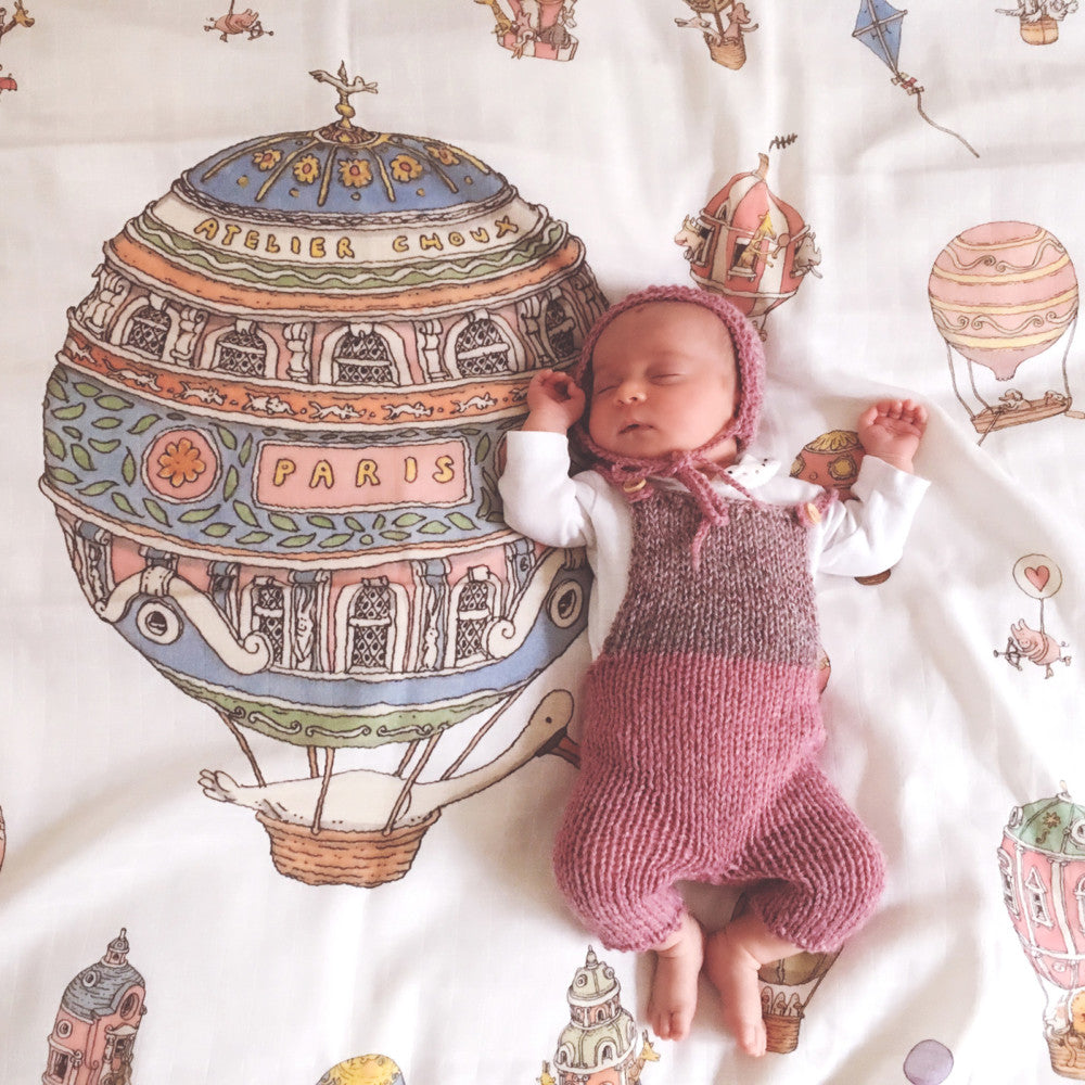 Luxury Baby Blanket by Atelier Choux Paris with Hot Air Balloons Print at Bonjour Baby Baskets