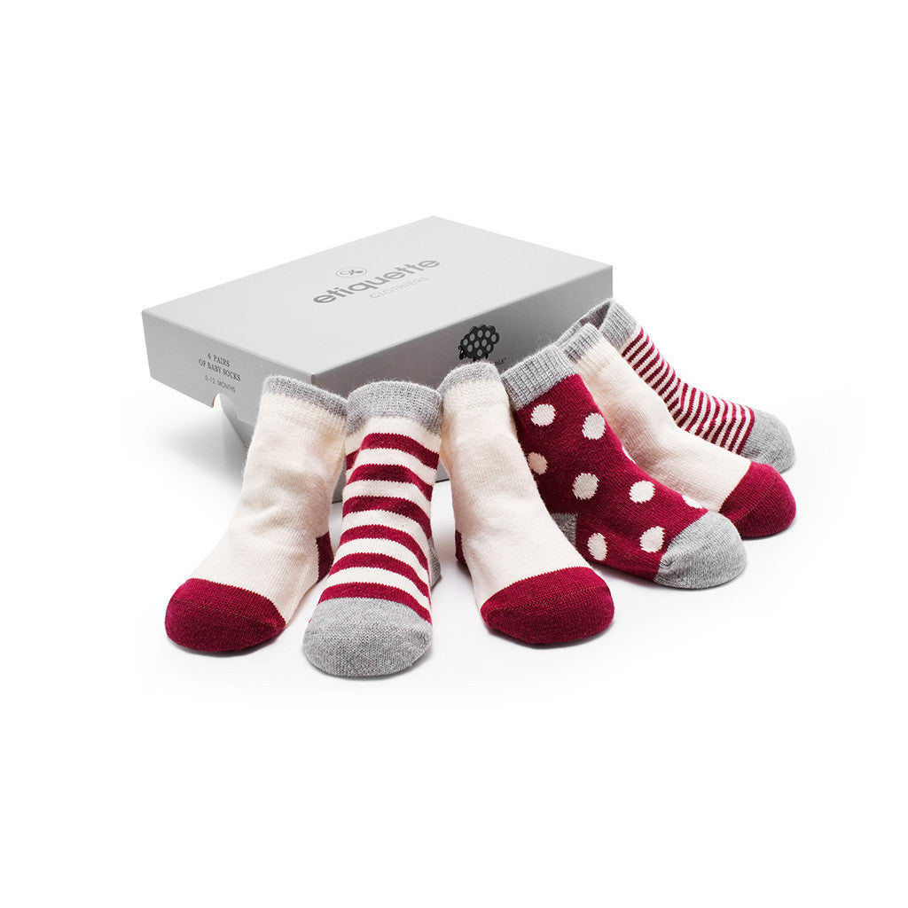 Baby Socks in Cashmere - Red