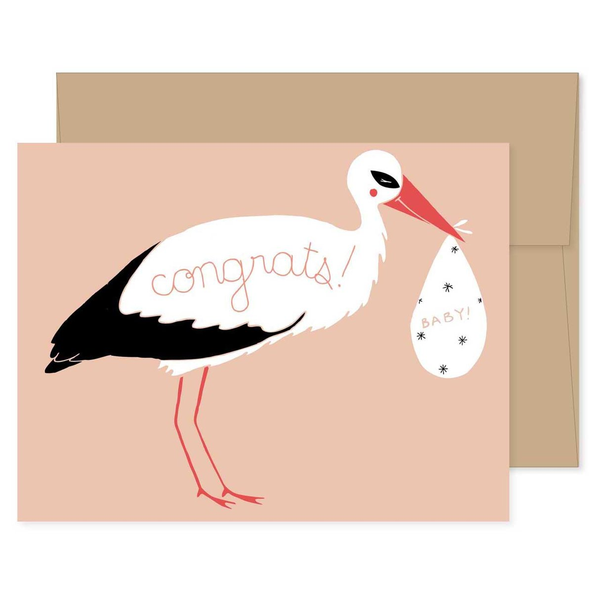 Baby Stork Greeting Card at Bonjour Baby Baskets