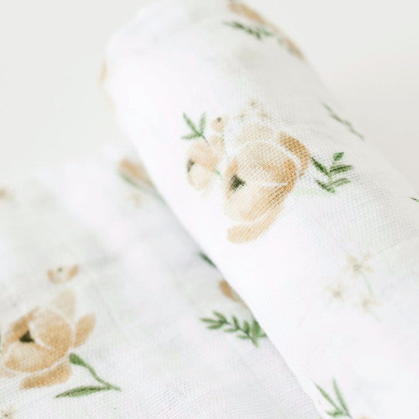 Swaddle Blanket by Little Unicorn Yellow Rose at Bonjour Baby Baskets