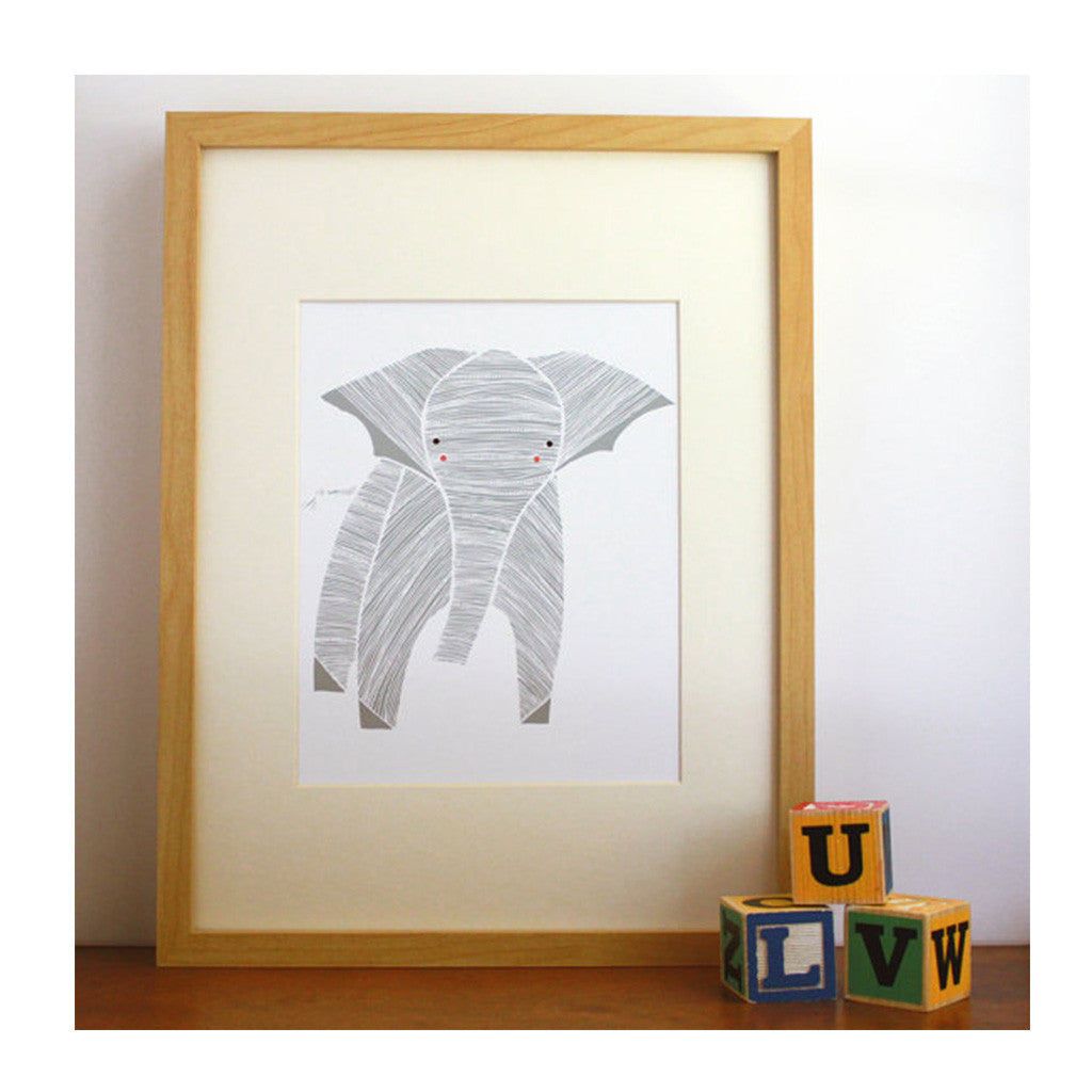 Art Print of Baby Elephant for the nursery, made in USA